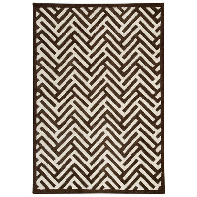 Portland Hand-Tufted Brown/White Area Rug Rug Size: 83 x 116