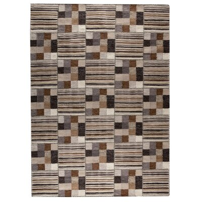 Khema 4 Hand-Woven Light Gray/Brown Area Rug Rug Size: 83 x 116