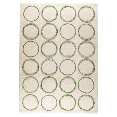 Bilbao Hand-Tufted White/Green Area Rug Rug Size: 46 x 66