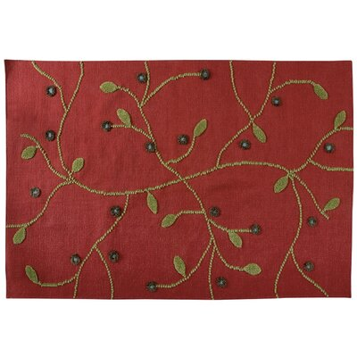 Santa Fe Hand-Woven Red/Green Area Rug Rug Size: 56 x 710