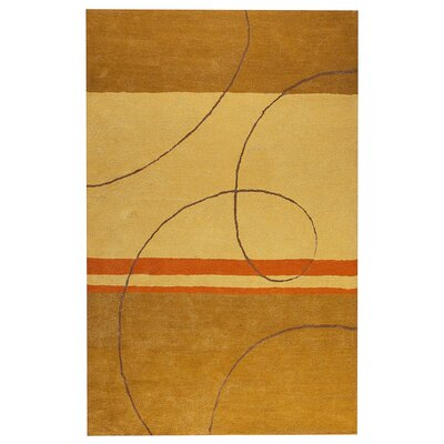Trenza Hand-Tufted Gold/Beige Area Rug Rug Size: 76 x 96