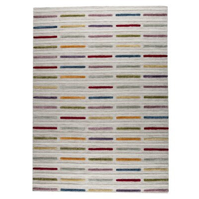 Khema 5 Hand-Woven Gray/Purple/Yellow Area Rug Rug Size: 56 x 710