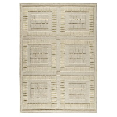 Bergamo Hand-Knotted White Area Rug Rug Size: 9 x 12