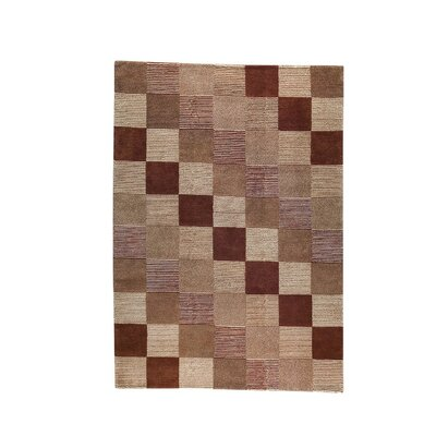 Check Hand-Knotted Brown/Beige Area Rug Rug Size: 83 x 116