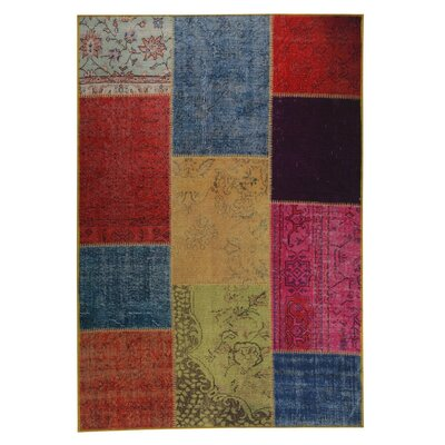 Konya Hand woven Red/Blue Area Rug Rug Size: 52 x 76