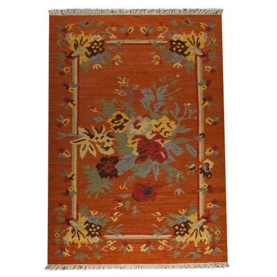 Karba 4 Hand-Woven Rust/Orange Area Rug Rug Size: 83 x 116