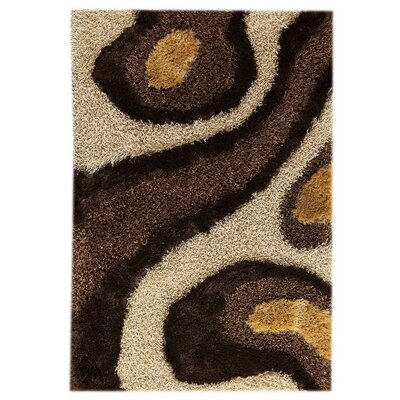 Dunes Hand-Tufted White/Brown Area Rug Rug Size: 52 x 76