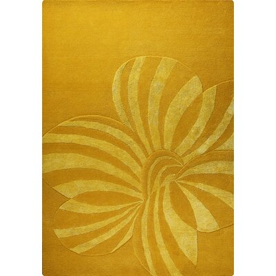Jasmine Hand-Tufted Gold Area Rug Rug Size: 83 x 116