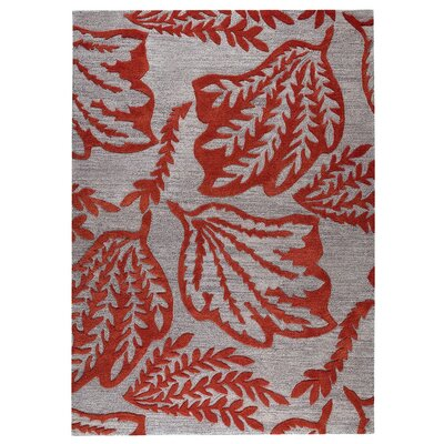 Leaf Hand-Tufted Red Area Rug Rug Size: 5 x 8