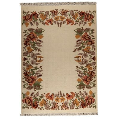 Karba 2 Hand-Woven Cream/Brown Area Rug Rug Size: 83 x 116