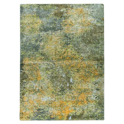 Mehran Hand-Woven Green/Orange Area Rug Rug Size: 9 x 12
