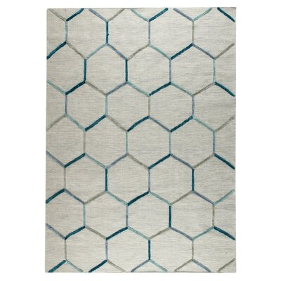 Khema 2 Hand-Woven Turquoise Area Rug Rug Size: 56 x 710