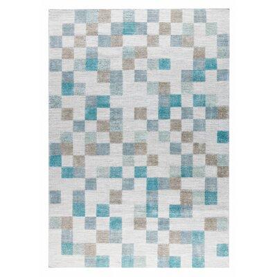 Kista Hand-Woven Aqua/Brown Area Rug Rug Size: 4 x 6