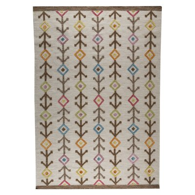 Khema 7 Hand-Woven Brown/Pink/Blue Area Rug Rug Size: 83 x 116
