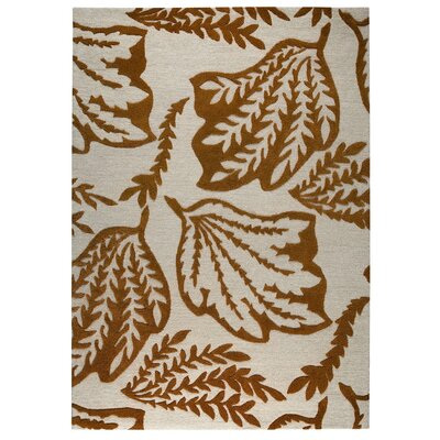 Leaf Hand-Tufted Rust/Gray Area Rug Rug Size: 5 x 8