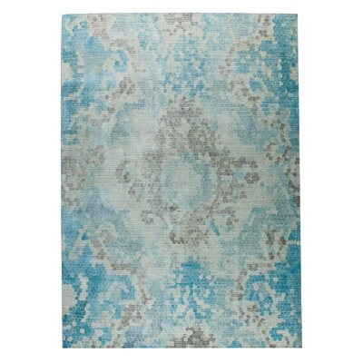 Omaha Hand-Woven Blue/Beige Area Rug Rug Size: 5 x 8