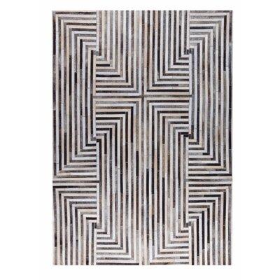 Draco Handmade Gray/White Area Rug Rug Size: 2 x 3
