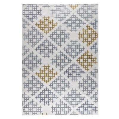 Lowell Hand-Woven Gray/Gold Area Rug Rug Size: 4 x 6