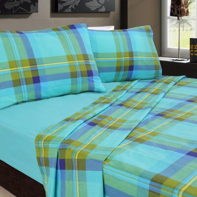 Plaids Printed 200 Thread Count Sheet Set Color: Blue / Green, Size: King