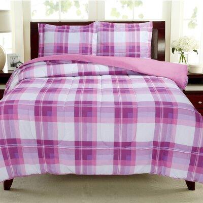 Plaids Reversible Comforter Set Color: Lavender / Pink, Size: Full / Queen