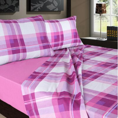 Plaids Printed 200 Thread Count Sheet Set Color: Lavender / Pink, Size: King