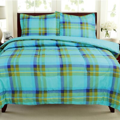 Plaids Reversible Comforter Set Size: Twin, Color: Blue / Green