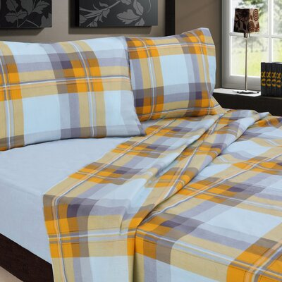 Plaids Printed 200 Thread Count Sheet Set Size: Twin, Color: Gray / Yellow