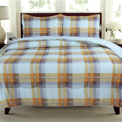 Plaids Reversible Comforter Set Size: Twin, Color: Grey / Yellow