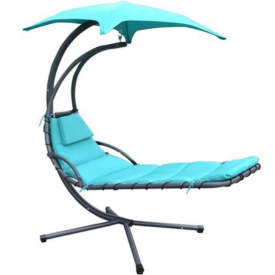 MCombo Polyester and PVC Hanging Chaise Lounger with Stand Color: Teal