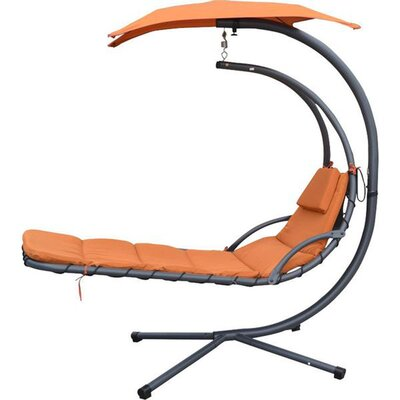 MCombo Polyester and PVC Hanging Chaise Lounger with Stand Color: Orange