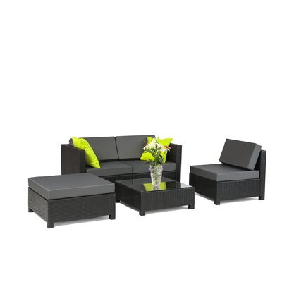 MCombo Wicker 5 Piece Sectional Seating Group with Cushion