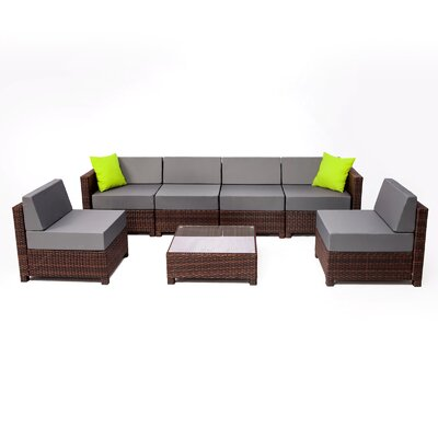 MCombo Wicker 7 Piece Sectional Seating Group with Cushion Fabric: Gray