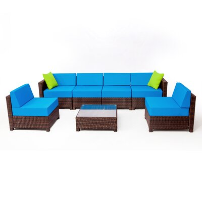 MCombo Wicker 7 Piece Sectional Seating Group with Cushion Fabric: Blue