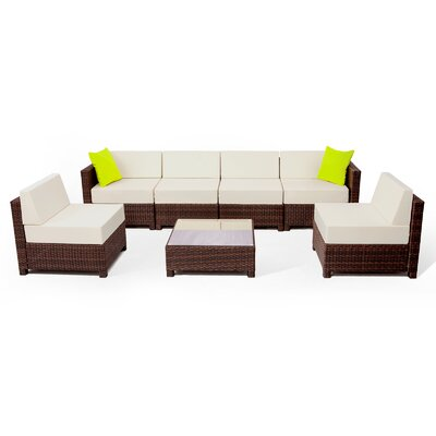 MCombo Wicker 7 Piece Sectional Seating Group with Cushion Fabric: White