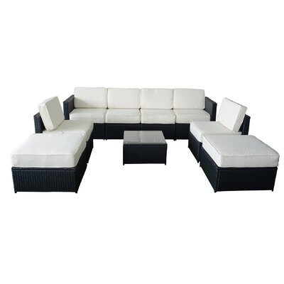 MCombo Wicker 9 Piece Sectional Seating Group with Cushion
