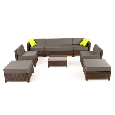 MCombo Wicker 9 Piece Sectional Seating Group with Cushion Fabric: Gray