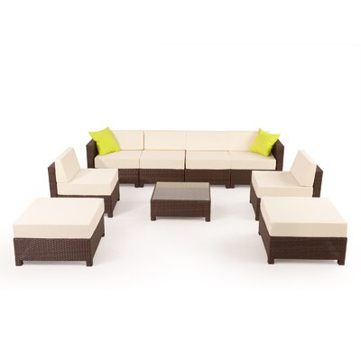 MCombo Wicker 9 Piece Sectional Seating Group with Cushion Fabric: White