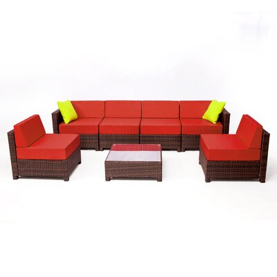MCombo Wicker 7 Piece Sectional Seating Group with Cushion Fabric: Red