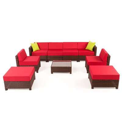 MCombo Wicker 9 Piece Sectional Seating Group with Cushion Fabric: Red