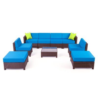 MCombo Wicker 9 Piece Sectional Seating Group with Cushion Fabric: Blue