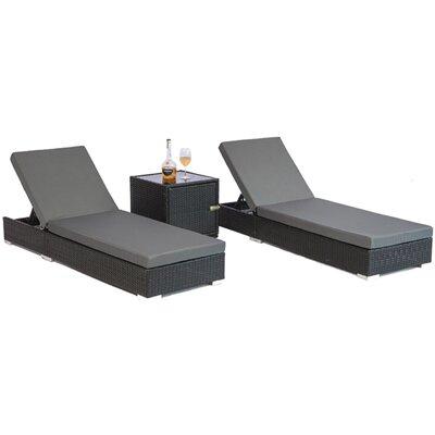 MCombo SunLounge Luxury Wicker 3 Piece Lounge Sofa with Cushion