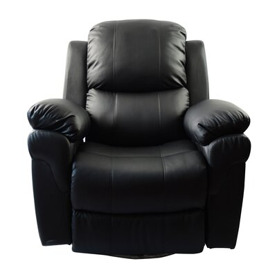 MCombo Vibrating Swivel Reclining Massage Chair with Heated Lounge Upholstery: Black