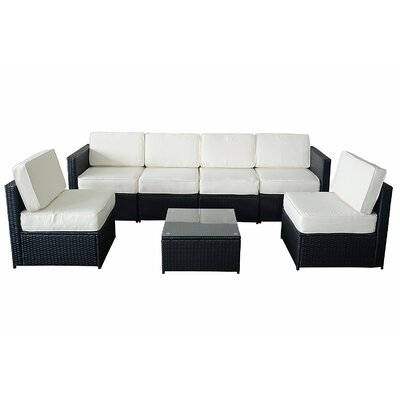 MCombo Wicker 7 Piece Sectional Seating Group with Cushion