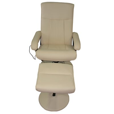 MCombo Reclining Massage Chair with Ottoman Upholstery: White