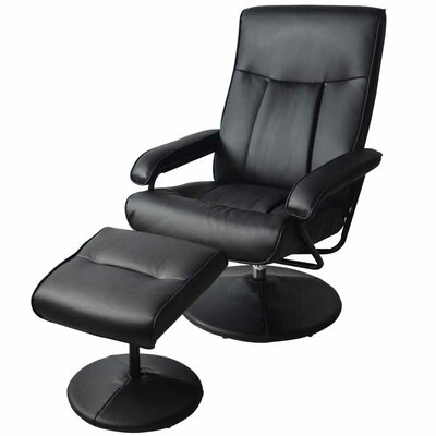 MCombo Reclining Massage Chair with Ottoman Upholstery: Black