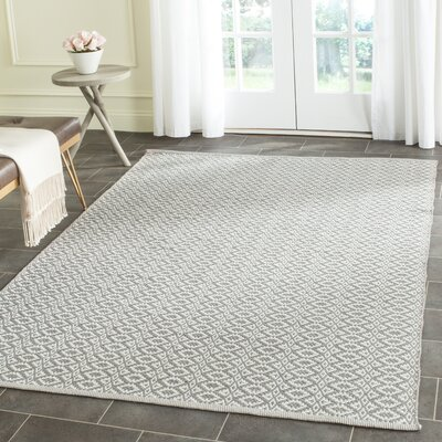 Whobrey Hand Woven Ivory/Gray Area Rug Rug Size: Rectangle 4 x 6
