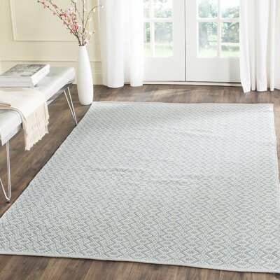 Whorton Hand Woven Ivory/Light Blue Area Rug Rug Size: Rectangle 5 x 7