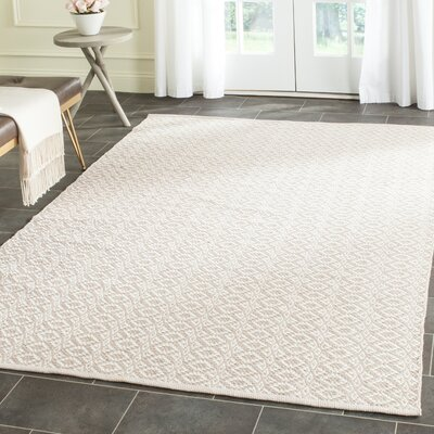 Wick St Lawrence Hand-Woven Cotton Ivory/Beige Area Rug Rug Size: Rectangle 5 x 7
