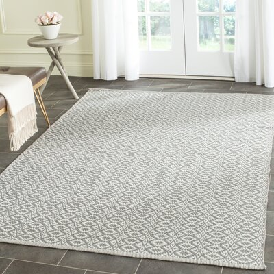 Whobrey Hand Woven Ivory/Gray Area Rug Rug Size: Rectangle 5 x 7