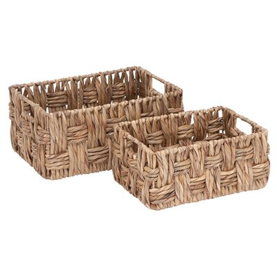2 Piece Metal/Wicker Basket Set